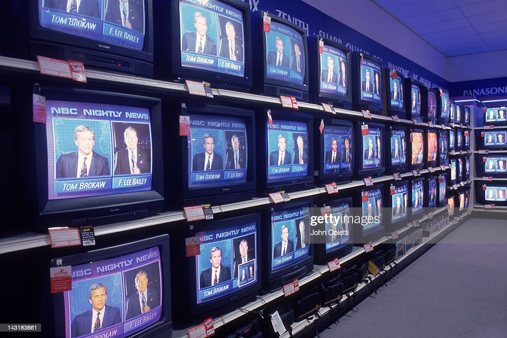 Televisions on display in department store : Stock Photo