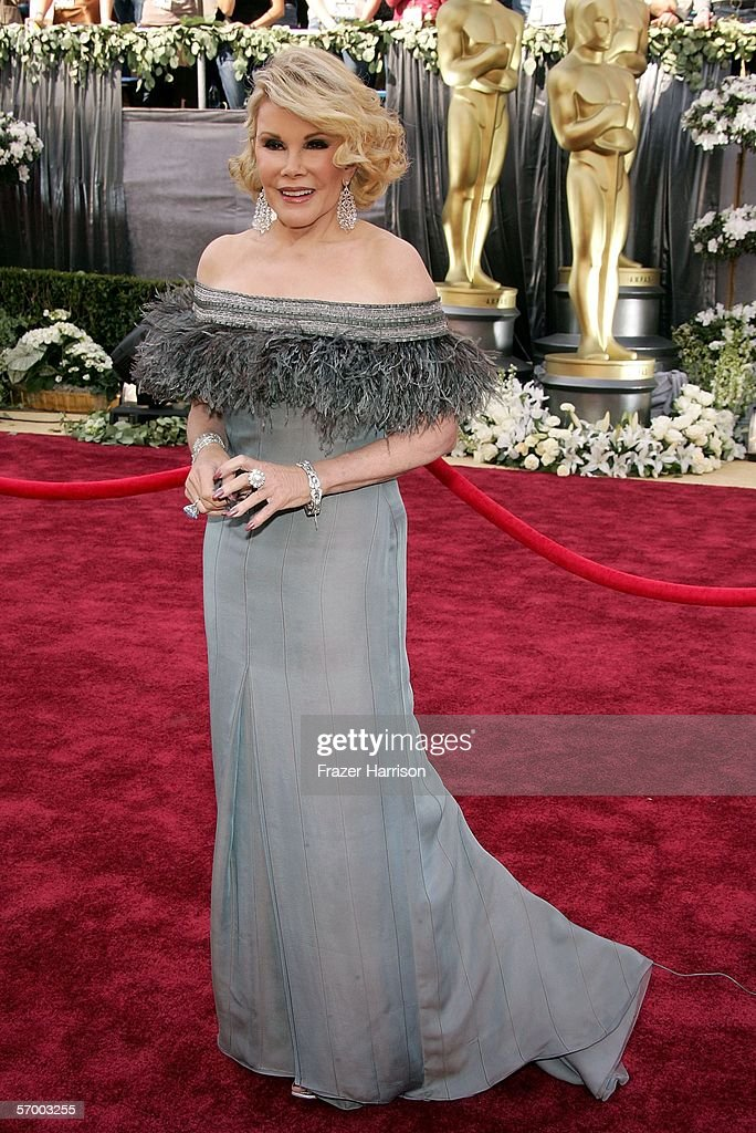 Televisison host <a gi-track='captionPersonalityLinkClicked' href=/galleries/search?phrase=Joan+Rivers&family=editorial&specificpeople=159403 ng-click='$event.stopPropagation()'>Joan Rivers</a> arrives to the 78th Annual Academy Awards at the Kodak Theatre on March 5, 2006 in Hollywood, California.