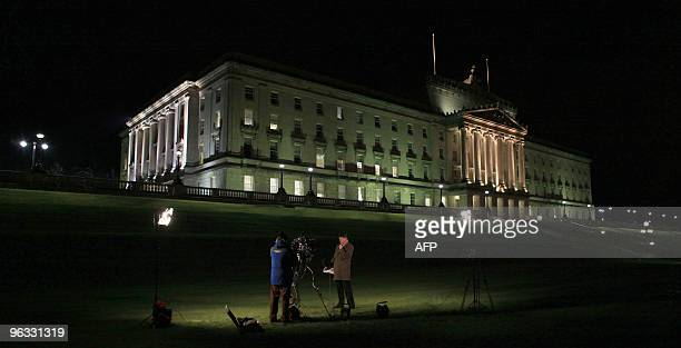 A televison crew waits outside the Stormont Parliament building after a short statement from Northern Ireland's First Minister Peter Robinson in...