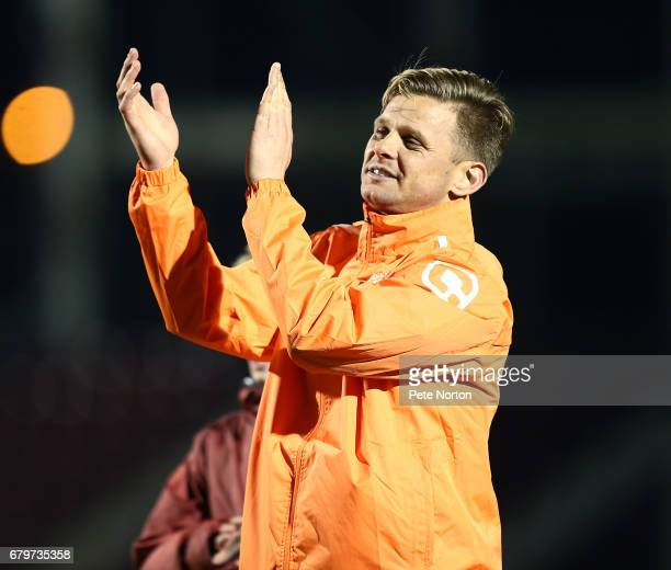 Televison Presenter Jeff Brazier applauds fans at the end of a Help for Heroes game between an RAF XI and a Celebrity XI at Sixfields on May 5 2017...