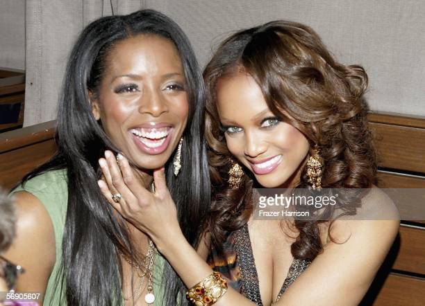 Televsion host Tyra Banks poses with actress Tasha Smith at the after party for the Lionsgate Premiere Of 'Madeas Family Reunion' held in Hollywood...