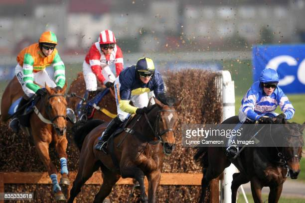 Tell Henry ridden by James Reveley chases Mister McGoldrick ridden by and Daldini in the Hillhouse Quarry Handicap Chase during Day One of the Coral...