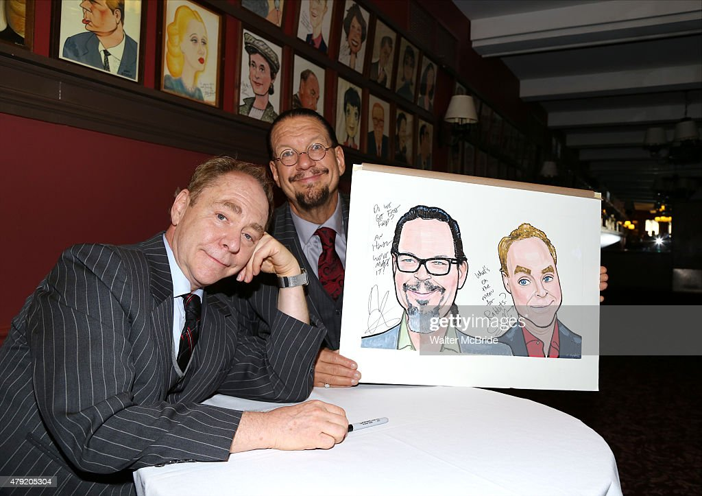 Teller and Penn Jillette attend with their Sardi's Caricature unveiling at Sardi's on July 1 2015 in New York City