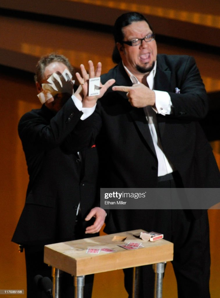Teller and Penn Jillette of the comedy/magic team Penn Teller speak onstage during the 38th Annual Daytime Entertainment Emmy Awards held at the Las...