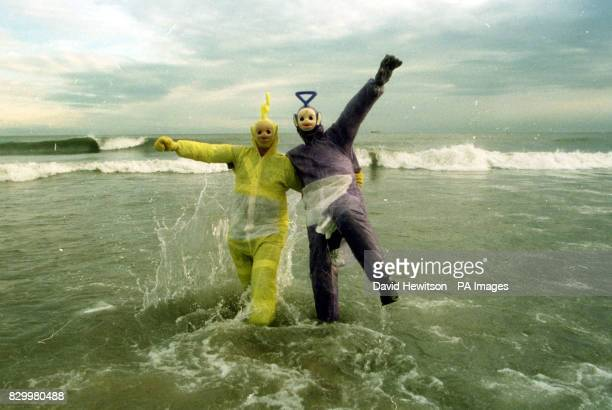 Tellytubbies Laa Laa and Dipsy on the beach at Seaburn near Sunderland today prior to the annual Boxing Day swim Photo by David Hewitson/PA