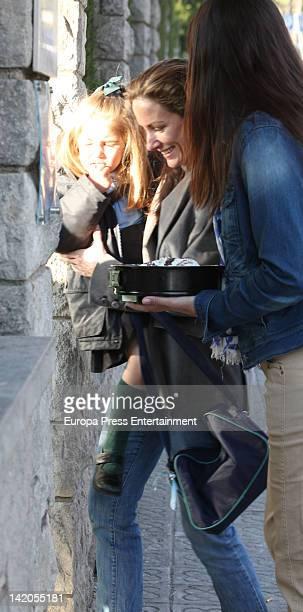 Telma Ortiz and her daughter Amanda MartinLlop Ortiz are seen going to her school on March 28 2012 in Barcelona Spain