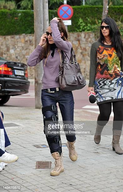 Telma Ortiz is seen leaving a property on April 25 2012 in Barcelona Spain