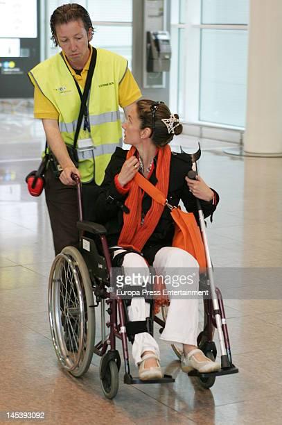 Telma Ortiz is seen on wheelChair on May 21 2012 in Barcelona Spain