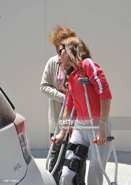 Telma Ortiz Princess Letizia's sister is seen on crutches on May 7 2012 in Barcelona Spain