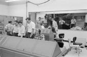 Telstar Satellite In Andover Andover 13 Juillet 1962 Le satellite TELSTAR transmetteur d'images télévisées à travers l'Atlantique dans une salle des...
