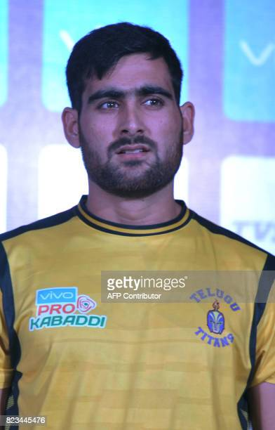 Telugu TitansTeam kabaddi captain Rahul Chaudhari poses during an event for the fifth edition of the Pro Kabaddi League 2017 in Hyderabad on July 27...