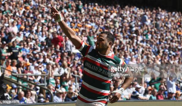 Telusa Veainu of Leicester celebrates after scoring their second try during the Aviva Premiership match between Bath and Leicester Tigers at...