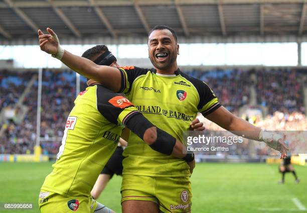 Telusa Veainu of Leicester Tigers celebrates with Peter Betham during the Aviva Premiership match between Wasps and Leicester Tigers at The Ricoh...