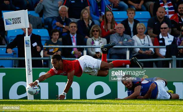 Telusa Veainu of Tonga goes over for a try which is disallowed for hand in touch during the 2015 Rugby World Cup Pool C match between Tonga and...