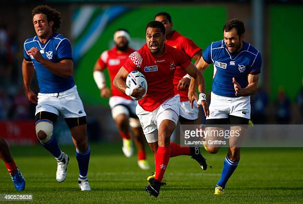 Telusa Veainu of Tonga runs with the ball during the 2015 Rugby World Cup Pool C match between Tonga and Namibia at Sandy Park on September 29 2015...