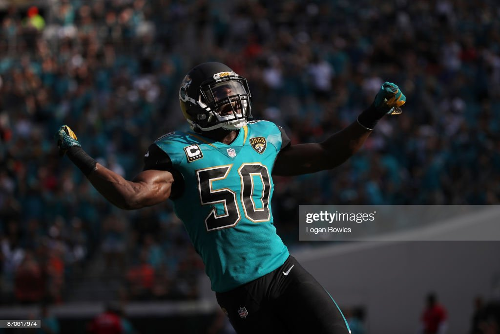 Telvin Smith #50 of the Jacksonville Jaguars celebrates a play on the field in the second half of their game against the Cincinnati Bengals at EverBank Field on November 5, 2017 in Jacksonville, Florida.