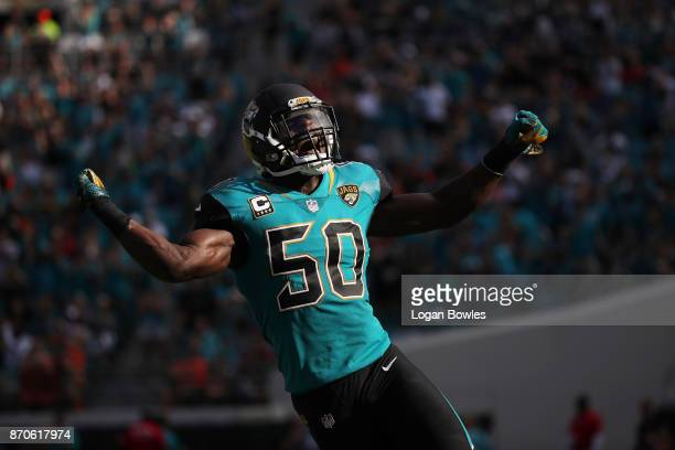 Telvin Smith of the Jacksonville Jaguars celebrates a play on the field in the second half of their game against the Cincinnati Bengals at EverBank...