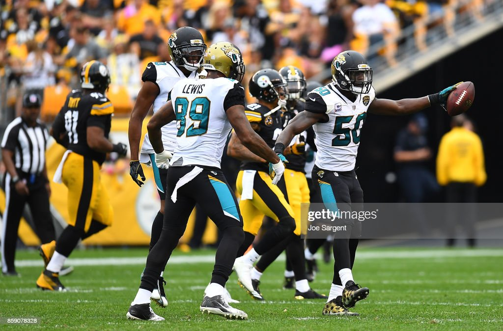 Telvin Smith #50 of the Jacksonville Jaguars reacts after returning an interception 28 yard for a touchdown in the third quarter during the game against the Pittsburgh Steelers at Heinz Field on October 8, 2017 in Pittsburgh, Pennsylvania.