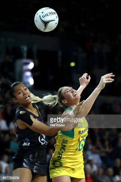 Temalisi Fakahokotau of New Zealand and Caitlin Bassett of Australia contest the ball during the 2017 Constellation Cup match between the New Zealand...