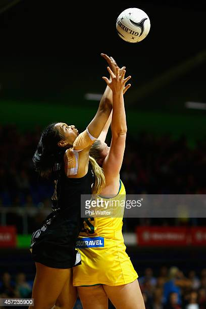 Temalisi Fakahokotau of New Zealand and Caitlin Thwaites of Australia contest the ball during the International Test match between the New Zealand...