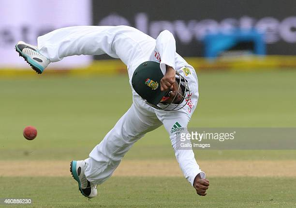 Temba Bavuma dives at shortleg during day 4 of the 2nd Test match between South Africa and West Indies at St Georges Park on December 29 2014 in Port...