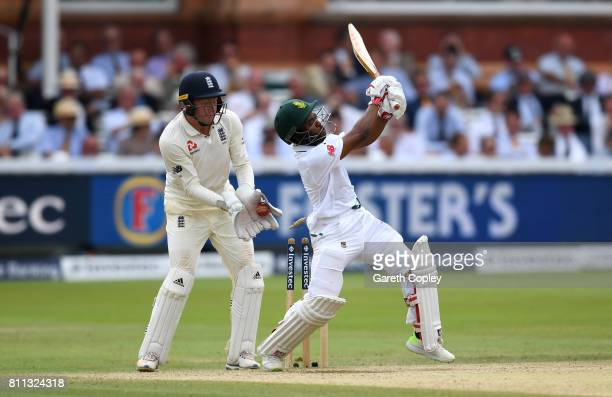 Temba Bavuma is bowled by Moeen Ali of England during the 4th day of the 1st Investec Test between England and South Africa at Lord's Cricket Ground...