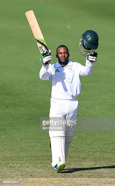 Temba Bavuma of South Africa 'A' celebrates after scoring a century during the match between Australia 'A' and South Africa 'A' at Tony Ireland...