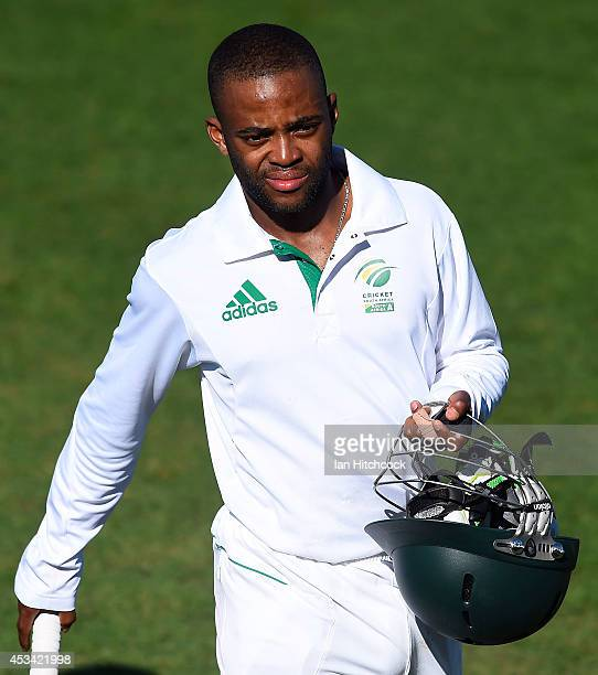 Temba Bavuma of South Africa 'A' walks from the field after winning the match between Australia 'A' and South Africa 'A' at Tony Ireland Stadium on...