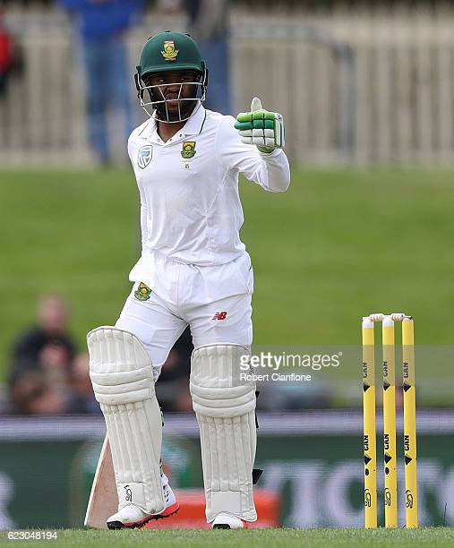 Temba Bavuma of South Africa acknowledges the crowd after reaching his half century during day three of the Second Test match between Australia and...