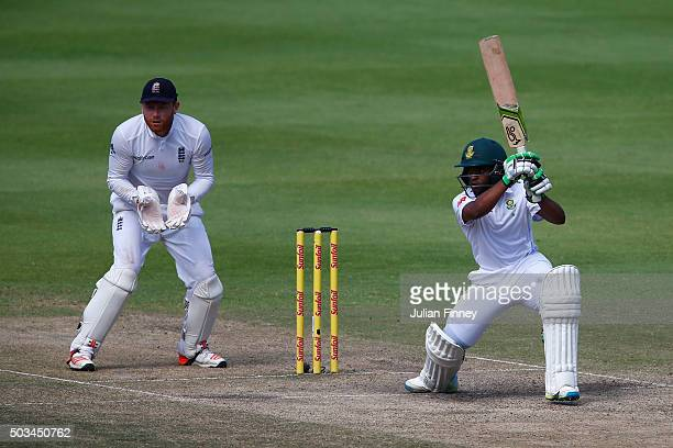 Temba Bavuma of South Africa bats as Jonny Bairstow of England keeps wicket during day four of the 2nd Test at Newlands Stadium on January 5 2016 in...