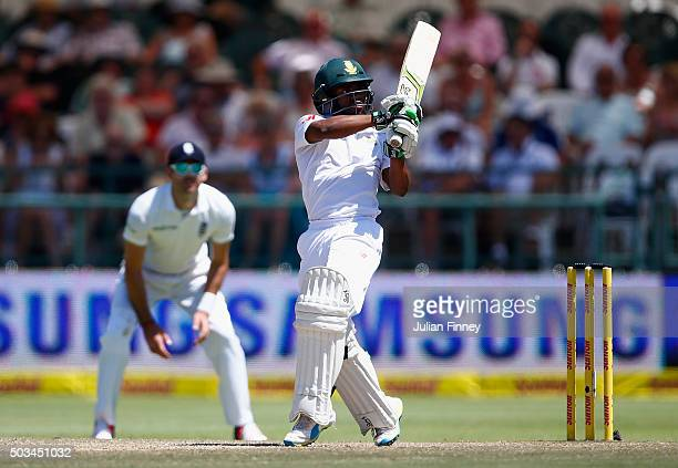 Temba Bavuma of South Africa bats during day four of the 2nd Test at Newlands Stadium on January 5 2016 in Cape Town South Africa