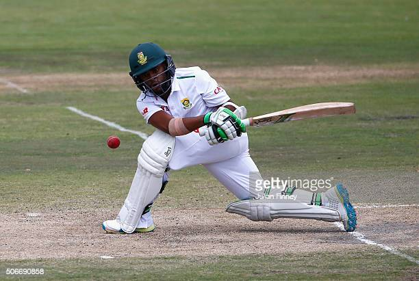 Temba Bavuma of South Africa bats during day four of the 4th Test at Supersport Park on January 25 2016 in Centurion South Africa