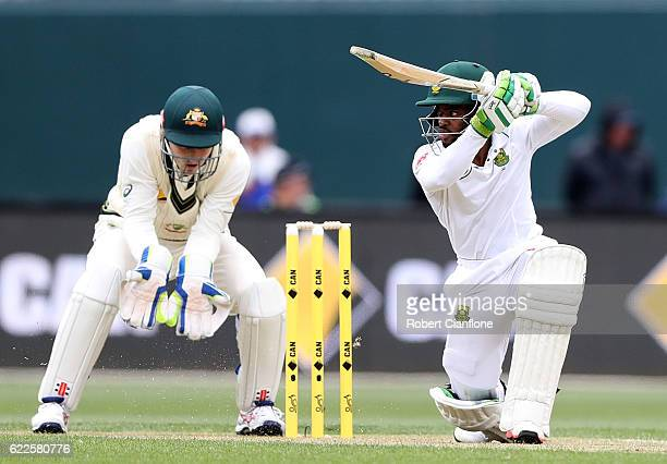 Temba Bavuma of South Africa bats during day one of the Second Test match between Australia and South Africa at Blundstone Arena on November 12 2016...
