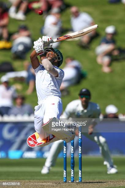 Temba Bavuma of South Africa bats during day two of the test match between New Zealand and South Africa at Basin Reserve on March 17 2017 in...