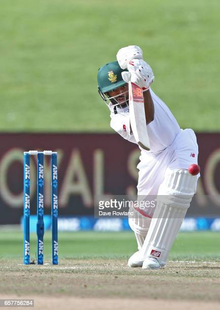 Temba Bavuma of South Africa bats during day two of the Test match between New Zealand and South Africa at Seddon Park on March 26 2017 in Hamilton...