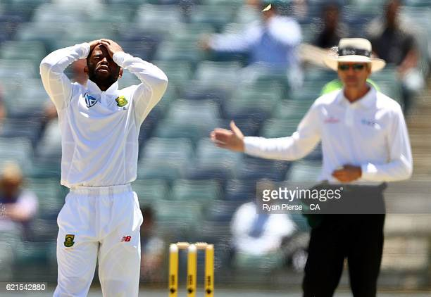 Temba Bavuma of South Africa reacts after his first delivery and possible LBW appeal against Usman Khawaja of Australia was called a no ball by...