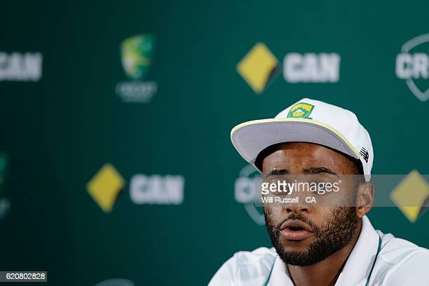 Temba Bavuma of South Africa speaks at a press conference after day one of the First Test match between Australia and South Africa at WACA on...