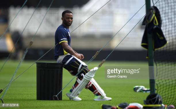 Temba Bavuma of South Africa waits to bat during a nets session at Trent Bridge on July 12 2017 in Nottingham England