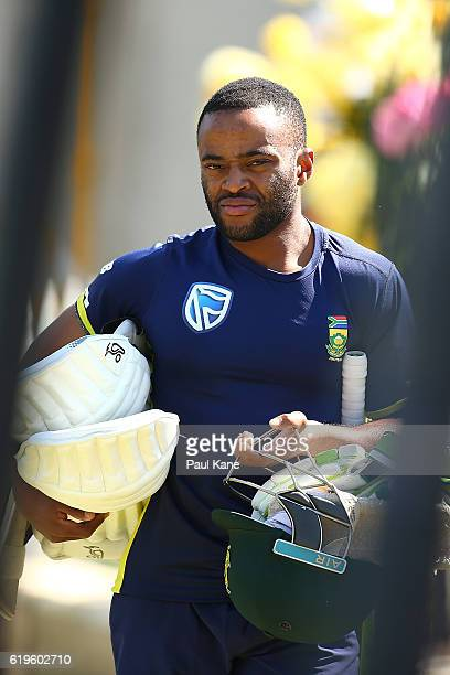 Temba Bavuma of South Africa walks to the practice wicket during a South Africa nets session at the WACA on November 1 2016 in Perth Australia