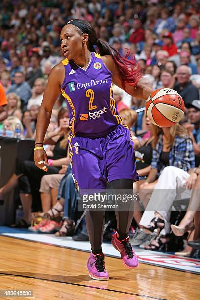 Temeka Johnson of the Los Angeles Sparks dribbles the ball against the Minnesota Lynx on August 9 2015 at Target Center in Minneapolis Minnesota NOTE...