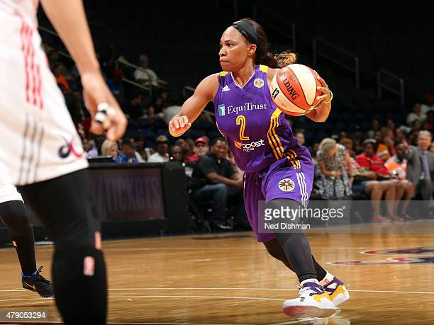 Temeka Johnson of the Los Angeles Sparks handles the ball against the Washington Mystics at the Verizon Center on June 23 2015 in Washington DC NOTE...