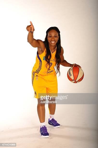 Temeka Johnson of the Los Angeles Sparks poses for a photo during media day at Galen Center on May 21 2015 in Los Angeles California NOTE TO USER...