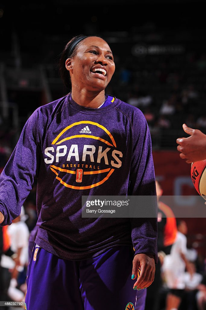 Temeka Johnson #2 of the Los Angeles Sparks smiles before the game against the Phoenix Mercury on September 11, 2015 at the US Airways Center in Phoenix, Arizona.