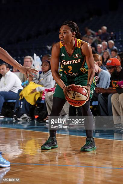 Temeka Johnson of the Seattle Storm dribbles the ball against the Chicago Sky on June 10 2014 at the Allstate Arena in Rosemont Illinois NOTE TO USER...