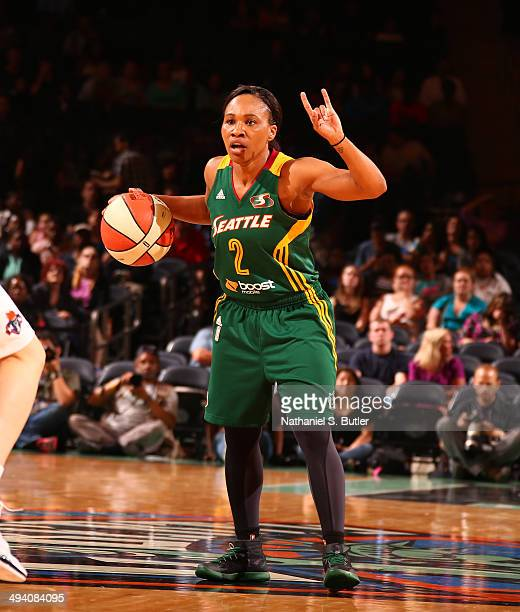 Temeka Johnson of the Seattle Storm drives against Anna Cruz of the New York Liberty during a game at Madison Square Garden in New York City on May...