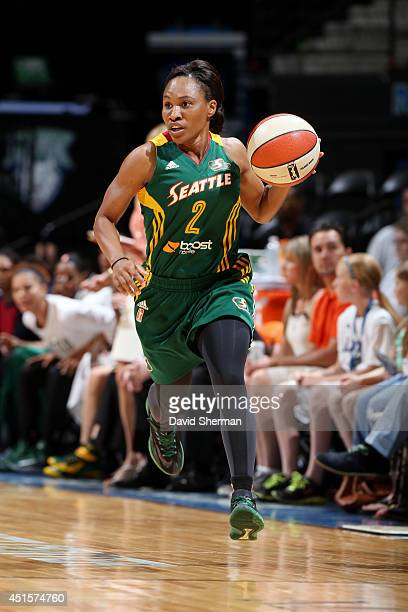Temeka Johnson of the Seattle Storm drives against the Minnesota Lynx on June 29 2014 at Target Center in Minneapolis Minnesota NOTE TO USER User...
