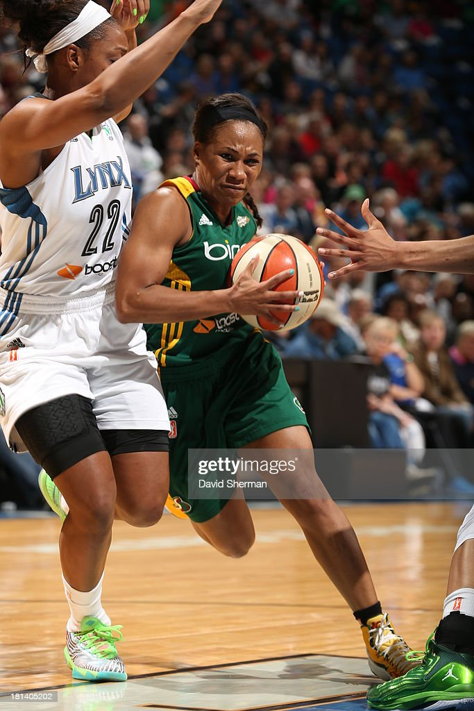 Temeka Johnson #2 of the Seattle Storm drives to the basket against Monica Wright #22 of the Minnesota Lynx during the WNBA Western Conference Semifinals Game 1 on September 20, 2013 at Target Center in Minneapolis, Minnesota.