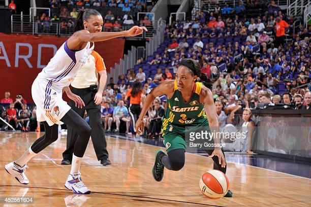 Temeka Johnson of the Seattle Storm drives to the basket against the Phoenix Mercury on July 9 2014 at US Airways Center in Phoenix Arizona NOTE TO...