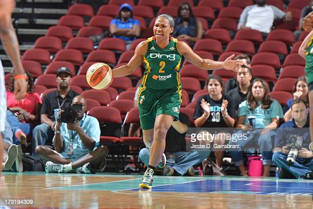 Temeka Johnson of the Seattle Storm drives upcourt against the New York Liberty during the game on July 9 2013 at Prudential Center in Newark New...