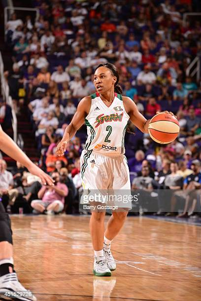 Temeka Johnson of the Seattle Storm handles the ball against the Phoenix Mercury on May 17 2014 at US Airways Center in Phoenix Arizona NOTE TO USER...